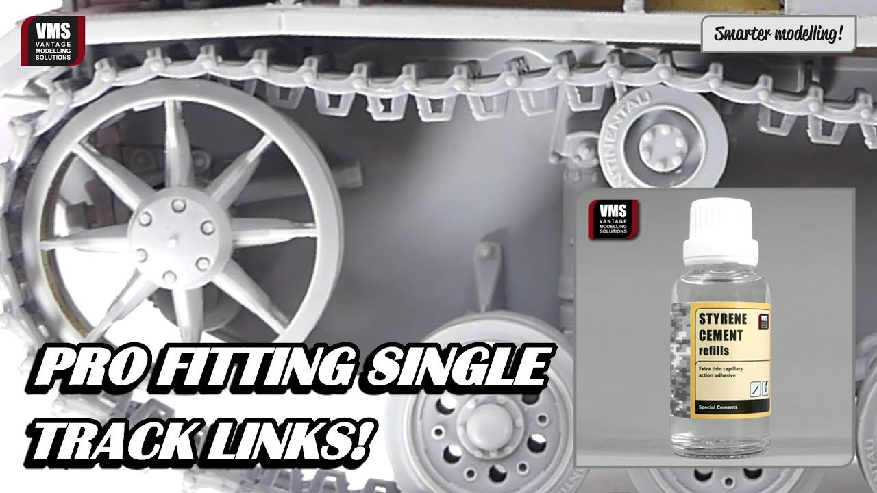 How to assemble tank tracks using individual track links - VMS Styrene  Cement slow type tutorial
