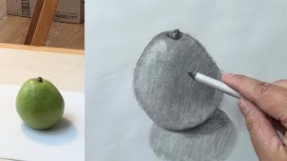 How to draw a pear with graphite pencil