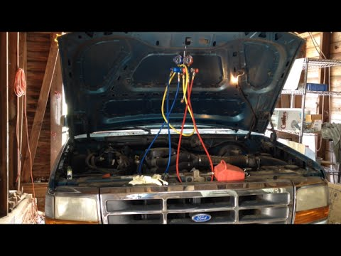 How To Charge an A/C System 1980 to 1996 Ford F-150 - YouTube  F Ac Wiring Diagram on 91 f150 fuse panel diagram, 90 f150 wiring diagram, 91 f150 ford, f150 light switch diagram, 91 f150 headlights, 91 f150 alternator diagram, 91 f150 exhaust, f150 wiring harness diagram, light switch wiring diagram,