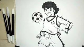 Cara Menggambar Tsubasa Ozora / How To Draw Tsubasa Ozora