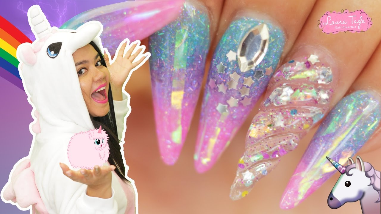 Pink Fluffy Unicorn Nails Uñas De Unicornio Youtube