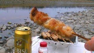 河原でひとり炭火焼き鳥 - YAKITORI CHICKEN BBQ thumbnail
