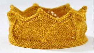 Вязаная повязка корона - прикольная повязка на голову в виде короны