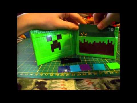Duct tape minecraft wallet youtube for Duct tape bedroom ideas