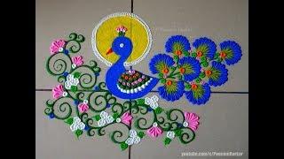 Beautiful peacock rangoli using bangles | Easy rangoli designs by Poonam Borkar