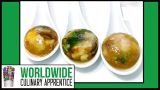 Poached Quail Eggs And Vegetables In Porcini Broth - Spherification - Molecular Gastronomy
