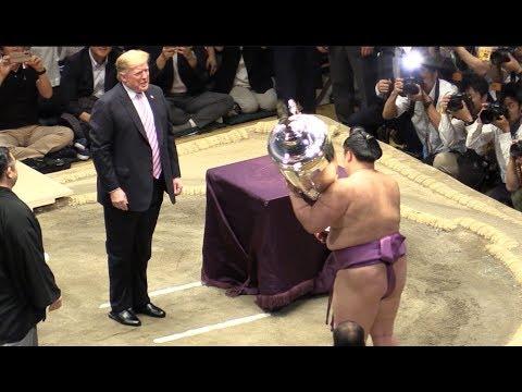 Donald Trump awards 'President's Cup' at sumo match in Japan トランプと安倍晋三の相撲観戦 26/5/2109 当日券自由席から