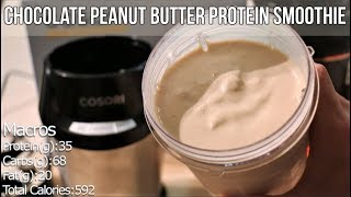 Chocolate Peanut Butter Protein Smoothie - Meal Replacement, Pre and Post Workout Shake