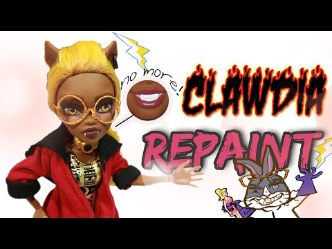Clawdia Wolf Repaint |Mouth Transplant| SuperGlue Sculpting: Mad Scientist Doll Customs Episode 11