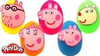 Aprende los Colores con Huevos Sorpresas de Peppa Pig y su Familia Plastilina Play Doh thumbnail