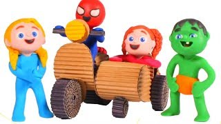 KIDS MAKING A MOTORBIKE WITH CARDBOARD ❤ SUPERHERO PLAY DOH CARTOONS FOR KIDS