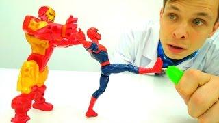 Человек паук и другие супергерои у Доктора Ой. Видео для детей