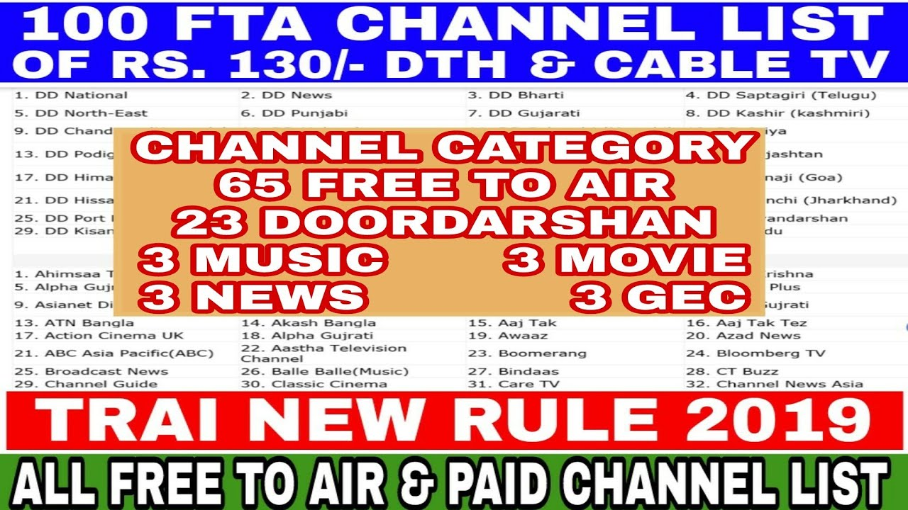 Selected 100 Free To Air Channel Of Rs 130/- Dth & Cable Tv / Trai New Rule  2019