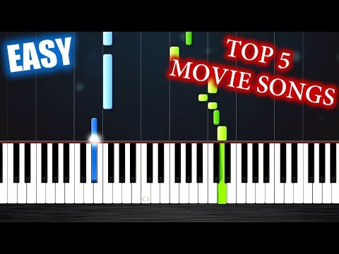 TOP 5 MOVIE SONGS ON PIANO  EASY PIANO TUTORIALS  PLUTAX