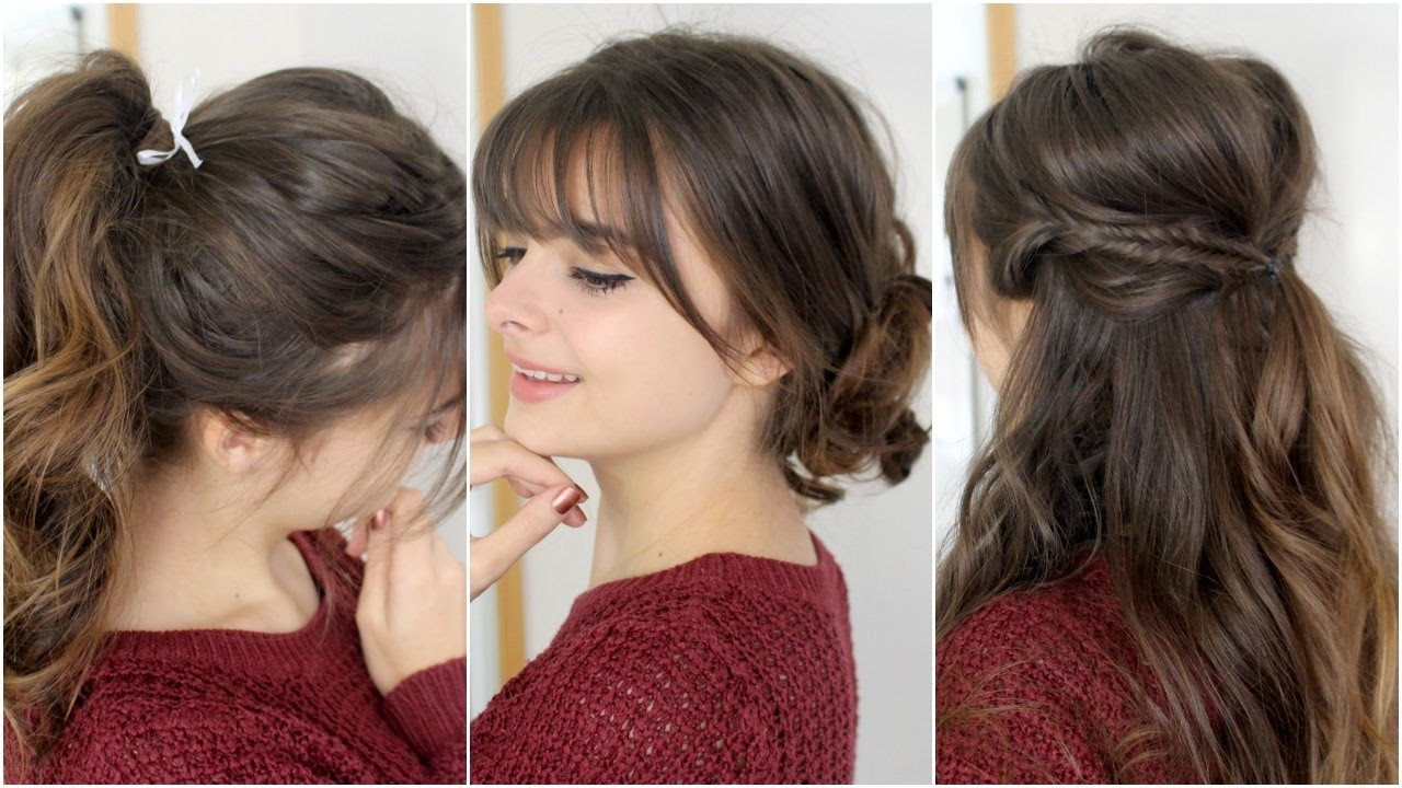 Cute easy hairstyles with bangs tutorial youtube urmus