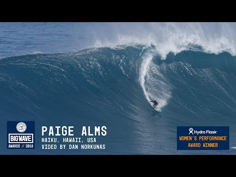 Paige Alms at Jaws - 2018 Hydro Flask Women's Performance Winner - WSL Big Wave Awards