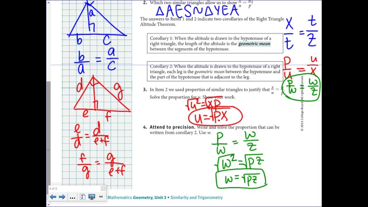 Springboard Geometry Unit 3 Lesson 19 2 Youtube