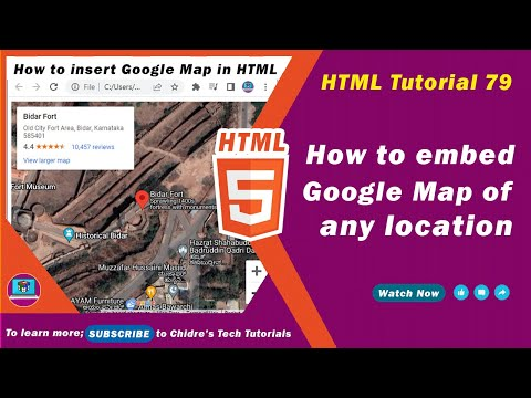 HTML Video Tutorial - 79 - Html Embedding Google Map Of Any Location