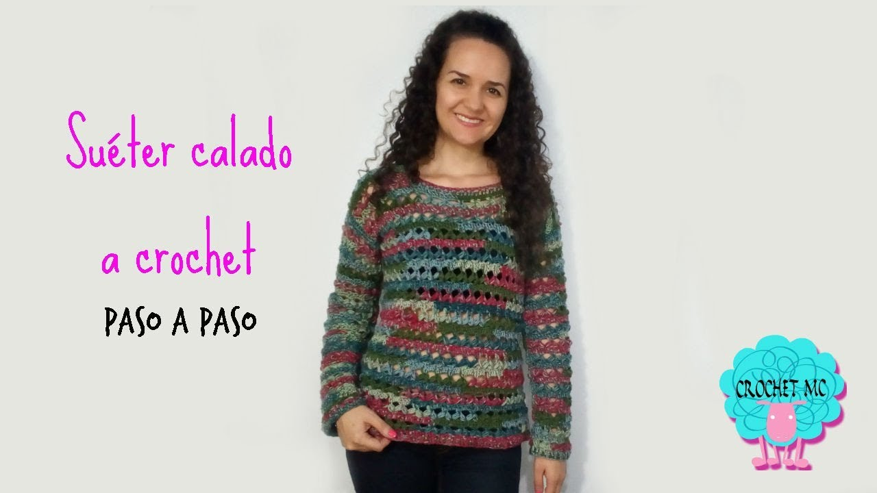 Tutorial suéter calado a crochet - punto hojas puff - YouTube