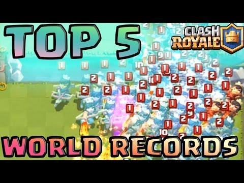 TOP 5 WORLD RECORDS ON CLASH ROYALE! (Sparky, Pekka, Lava Hound, Three Musketeer, Princess)