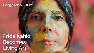 Watch Alexa Meade paint Ely Guerra into living art inspired by Frida Kahlo | #GoogleArts