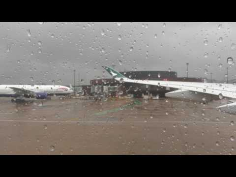 Cathay Pacific A350 London Gatwick Push back, Taxi, Take-off IFE camara