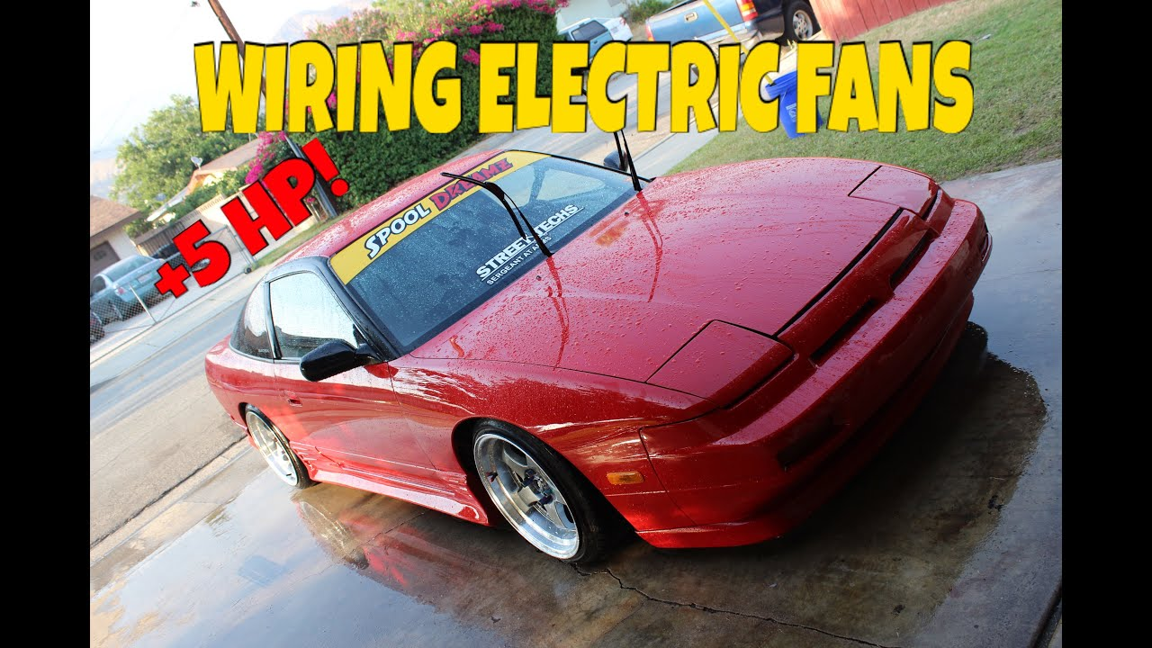 wiring electric fans on the 240sx s13 youtube rh youtube com Electric Fan Wiring for 1996 Mustang Thermo Switch for Electric Fan
