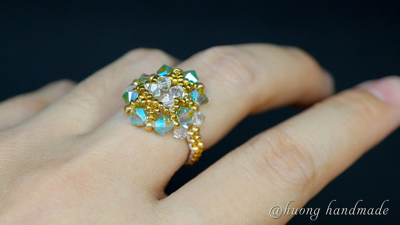 Diy beaded ring. Simple and easy for beginners. Ring making tutorial. Oval shape
