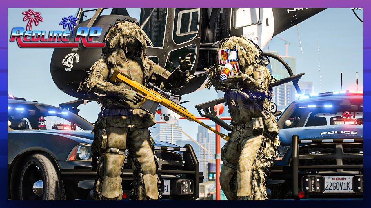 GTA 5 Roleplay - RedlineRP -  GHILLIE SUIT HITMEN TROLLING COPS  # 339