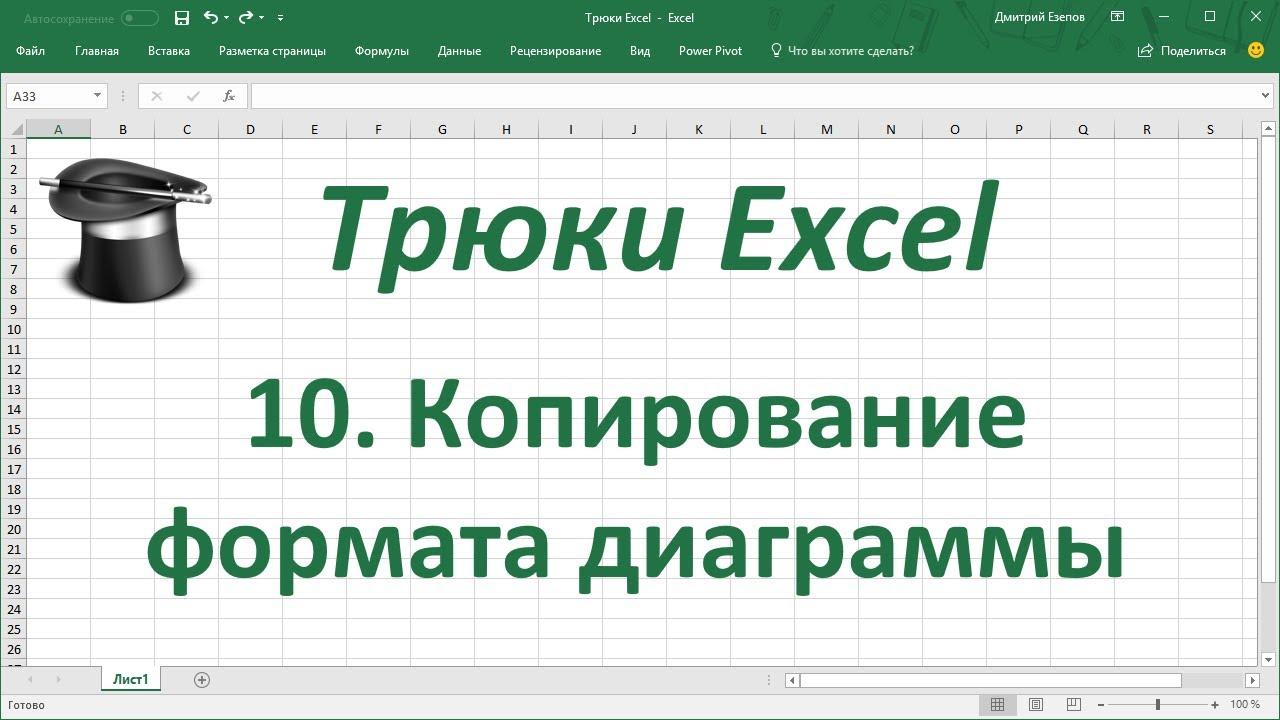 Трюк Excel 10. Копирование формата с одной диаграммы на другую