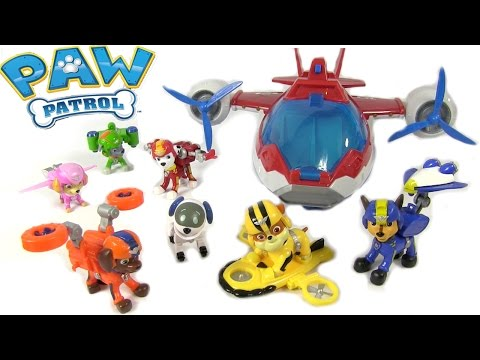 Full Set Paw Patrol Air Rescue Pups & Air Patroller - Nickelodeon Flying Pups