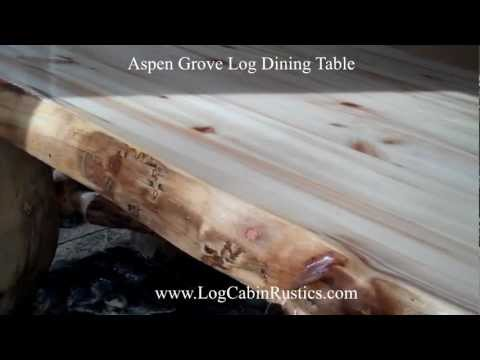 Rustic Table - Farmhouse Dining Table - Aspen Log Table & Furniture