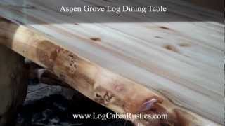 Rustic Table - Farmhouse Dining Table - Aspen Log Table & Furniture
