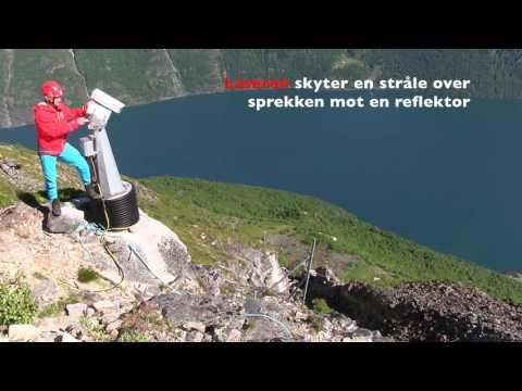 NVE overvåker fjellskred - måling med laser