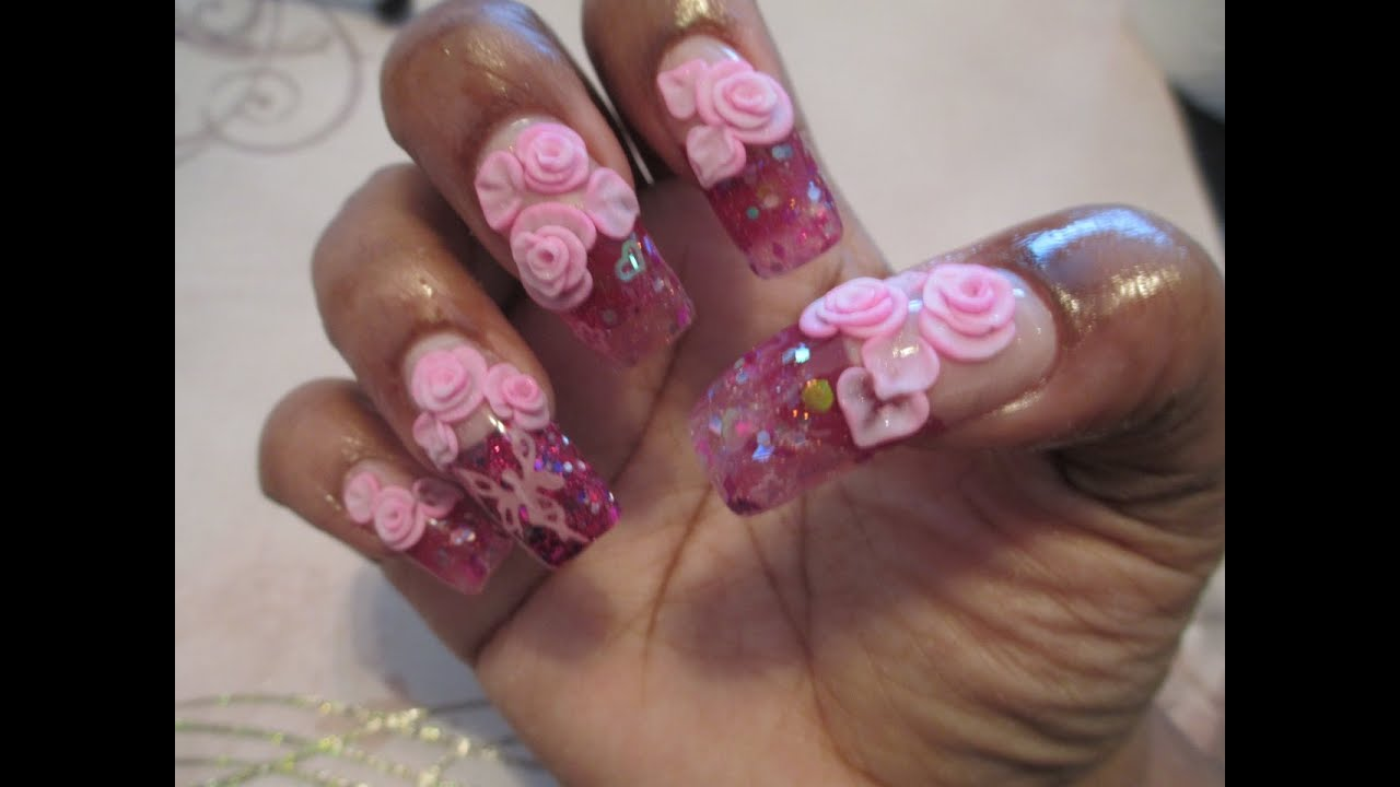 Pretty In Pink Valentine S Day Acrylic Nails Tutorial Youtube