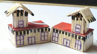 How to make a small house of Matchstick,cardbord and burn it at home(Create by a new trick)
