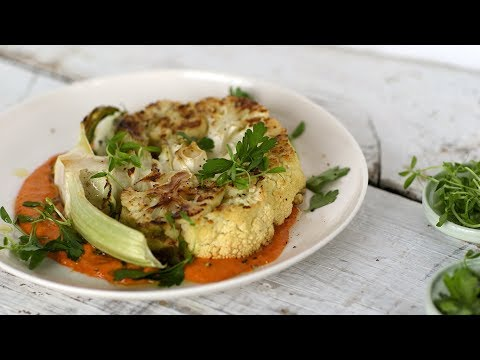 Cauliflower Steaks with Romesco SauceHealthy Appetite with Shira Bocar
