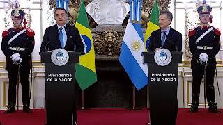 Declaración conjunta de los presidentes Mauricio Macri y Jair Bolsonaro