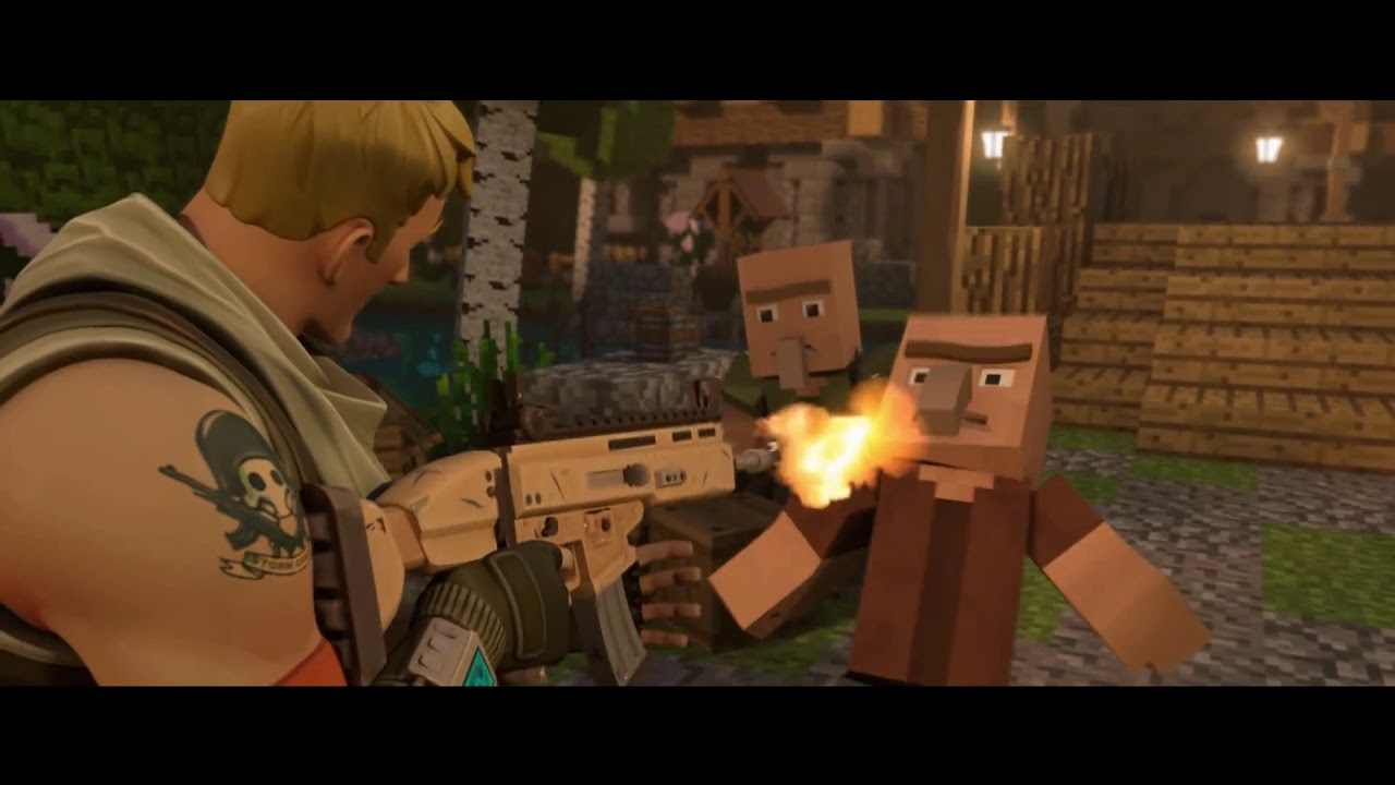Fortnite Default Kills Minecraft Villagers And Minecraft Player Takes Revenge