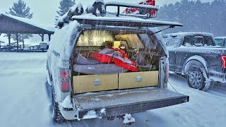 Solo Overnight Truck Camṗing in a Blizzard - 100,000 Subscriber Special