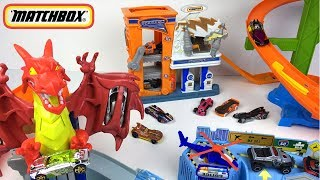 STORY WITH RACE CARS HOTWHEELS AND MATCHBOX DRAGON BLAST CRIME STOPPERS GARAGE & BULLDOZER BLAST