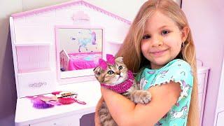 डायना और उसके बिल्ली के बच्चे की दिनचर्या