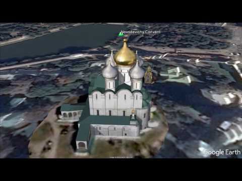 Flight over Moscow landmarks in 3D