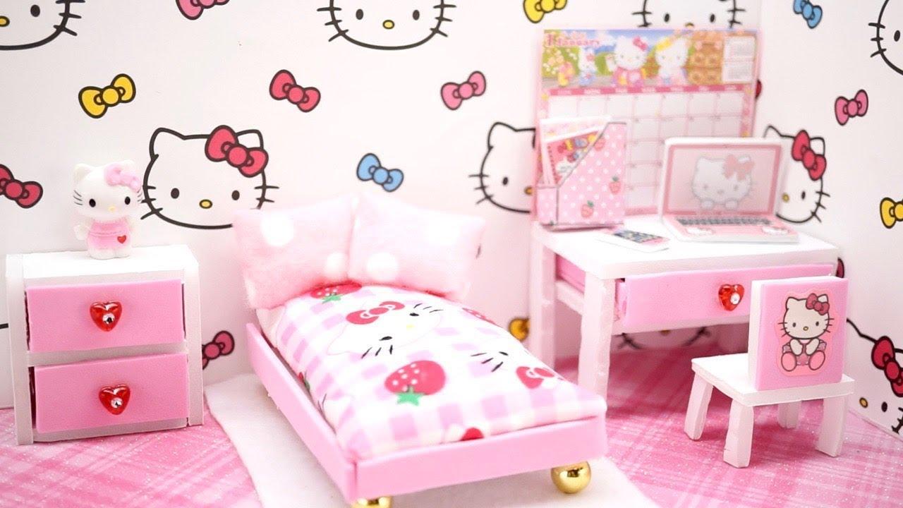 0e10892a2 DIY Miniature Dollhouse- - HELLO KITTY ROOM!! (NOT A KIT) - YouTube