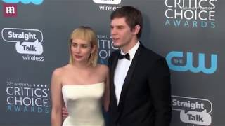 Emma Roberts arrives at Critics' Choice with Evan Peters