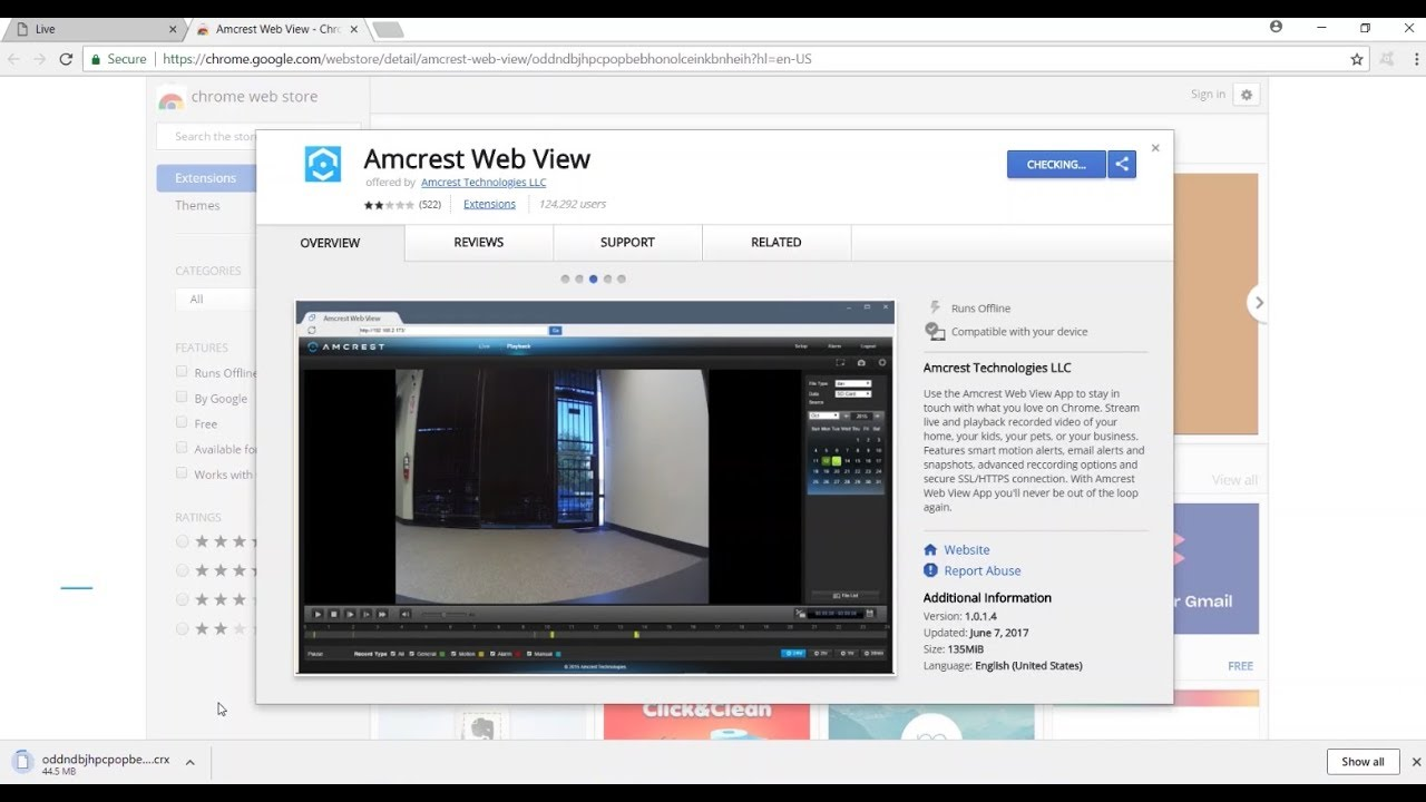 Amcrest Web View Google Chrome App Install & Shortcuts