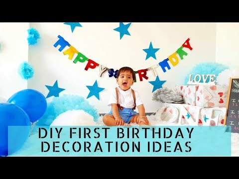 Easy DIY First Birthday Photoshoot / party decorations at home | New Ideas 2019
