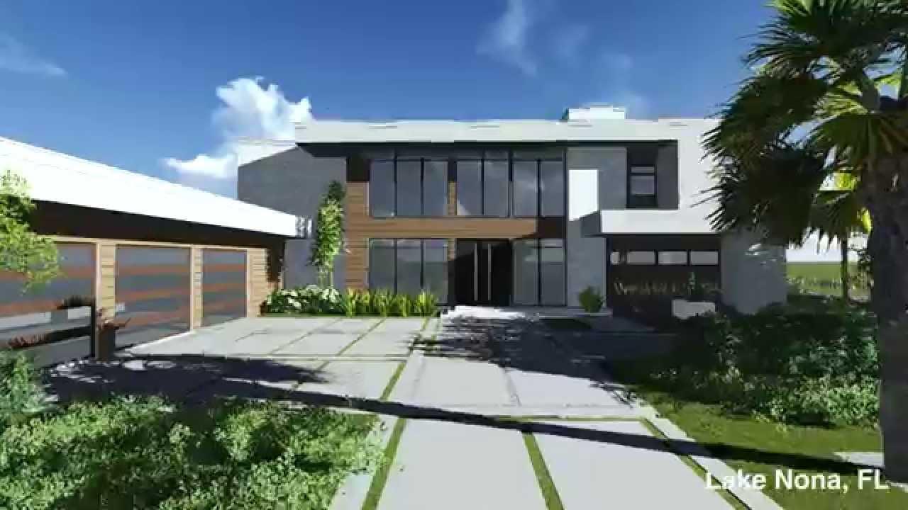 Custom modern home lake nona orlando florida youtube for New modern homes orlando