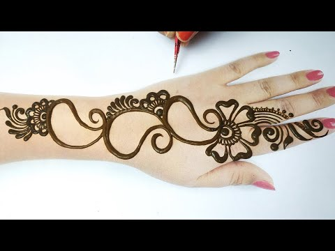 New Mehndi Design for Back Hands Step by Step - बहुत आसान मेहँदी डिज़ाइन लगाना सीखे   Easy Mehandi