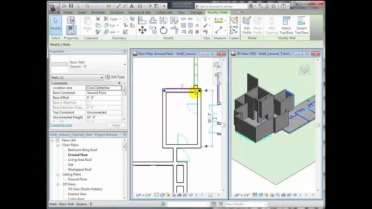 Revit Architecture - Modeling Exterior and Interior Walls - Lesson 1